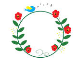 Czerwony kwiatu okrąg z błękitnymi ptasimi śpiewu i muzyki notatkami Fotografia Royalty Free