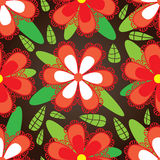 Czerwony Kwiatu Zieleni Liść Bezszwowy Pattern_eps Obrazy Stock