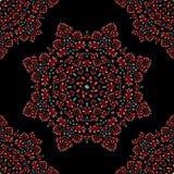 Czerwony kwiecistego ornamentu bezszwowy wzór na czarnym tle royalty ilustracja