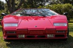 Czerwony Lamborghini Countach przód Obraz Stock