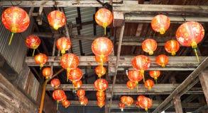 Czerwony lamp wieszać Zdjęcie Stock