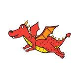 Czerwony latający śliczny smok w kreskówka stylu Zdjęcia Stock