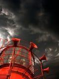 Czerwony latarniowiec z mgła rogami Obrazy Stock