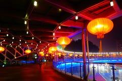 Czerwony latarniowy noc krajobraz Zdjęcia Stock