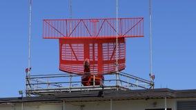 Czerwony lotniskowego inwigilacja radaru naczynia wirować zbiory