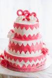 Czerwony ślubny tort Zdjęcie Royalty Free