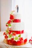 Czerwony ślubny tort Fotografia Stock