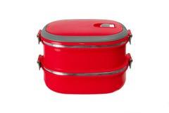 Czerwony lunchu pudełko odizolowywający Obrazy Stock
