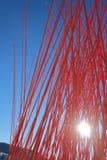 Czerwony mały przypadkowy słup sztuki przedmiot w Oslo Zdjęcia Royalty Free