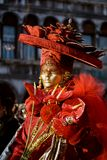 czerwony masquerader venetian Obraz Royalty Free