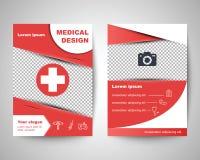 Czerwony medyczny ulotka układu szablon Zdjęcie Stock