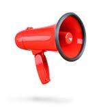 Czerwony megafon odizolowywający na białym tle Zdjęcie Royalty Free