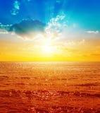 Czerwony morze i zmierzch Fotografia Stock