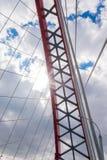 Czerwony most w Novosibirsk mieście obrazy royalty free
