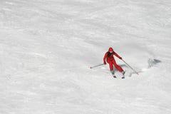 czerwony na nartach Zdjęcie Royalty Free