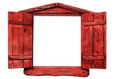 czerwony nadokienny drewniany Obraz Royalty Free