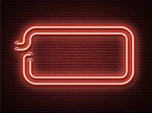 Czerwony neonowy świecący signboard na realistycznej murarstwo ścianie ilustracja wektor
