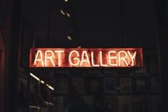Czerwony neonowy listu galeria sztuki zdjęcie stock