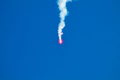 Czerwony niebieskie niebo i rakieta Fotografia Stock