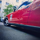 Czerwony niski Honda obraz royalty free