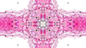 Czerwony niski poli- geometryczny abstrakcjonistyczny tło jako poruszający witrażu lub kalejdoskopu skutek w 4k Pętli 3d animacja zdjęcie wideo