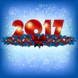 Czerwony nowy rok 2017 liczb i Xmas dekoracja Zdjęcia Royalty Free