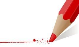 Czerwony ołówek z łamanym prąciem Obrazy Royalty Free