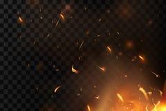 Czerwony ogień iskrzy wektorowego latanie up Płonące rozjarzone cząsteczki Płomień ogień z iskrami w powietrzu nad ciemną nocą ilustracja wektor