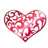 Czerwony openwork serce na białym tle Zdjęcia Royalty Free