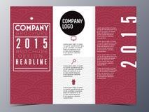 Czerwony orientalny deseniowy broszurka projekta szablonu wektor trifold Zdjęcia Stock