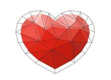 Czerwony origami serce na białym tle również zwrócić corel ilustracji wektora Zdjęcie Stock