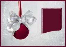 czerwony ornamentów bożych narodzeń kartka z pozdrowieniami fotografia stock