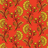 Czerwony ornamentacyjny khokhloma wzór Zdjęcia Royalty Free