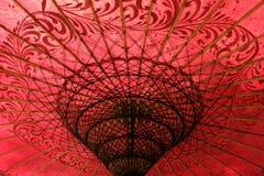 Czerwony ornamentacyjny parasol Zdjęcie Royalty Free
