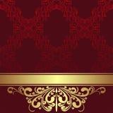 Czerwony ornamentacyjny tło z złotą granicą i faborkiem Zdjęcia Stock