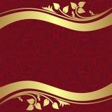 Czerwony ornamentacyjny tło z złotymi kwiecistymi granicami Obrazy Royalty Free