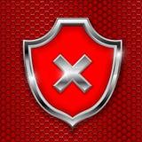 Czerwony osłona znak Spadku 3d symbol na czerwieni dziurkowatym tle ilustracja wektor