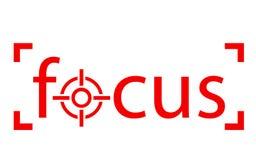 Czerwony ostrości słowo z zakres ikoną ilustracji