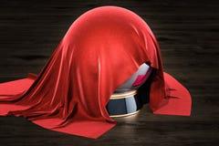 Czerwony płótno zakrywał kryształową kulę na drewnianym stole, 3D rendering ilustracji