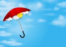 Czerwony parasol i niebieskie niebo Obrazy Stock