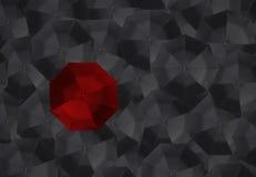 Czerwony parasol i wiele czarni parasole Obraz Royalty Free