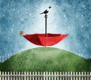 Czerwony parasol na wzgórze abstrakcie royalty ilustracja