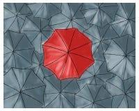 Czerwony parasol w popielatych parasolach - wzór Fotografia Stock