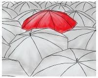 Czerwony parasol w popielatych parasolach - wzór Zdjęcia Royalty Free
