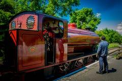 Czerwony Parowy silnik z Parowozowym kierowcą fotografia stock