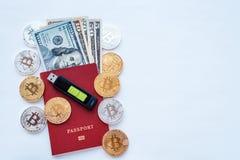 Czerwony paszport, biały tło, tożsamości potwierdzenie Pamięci karty USB kija kiesa USA dolary USD, metal monet złoto Zdjęcie Stock