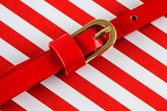 Czerwony patentowy rzemienny pasek Obraz Stock
