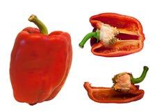 czerwony pepper white Zdjęcia Royalty Free