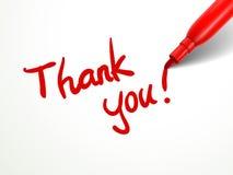 Czerwony pióra writing dziękuje ciebie nad dokumentem Fotografia Royalty Free