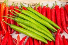 Czerwony pieprz i zielony pieprz Fotografia Stock